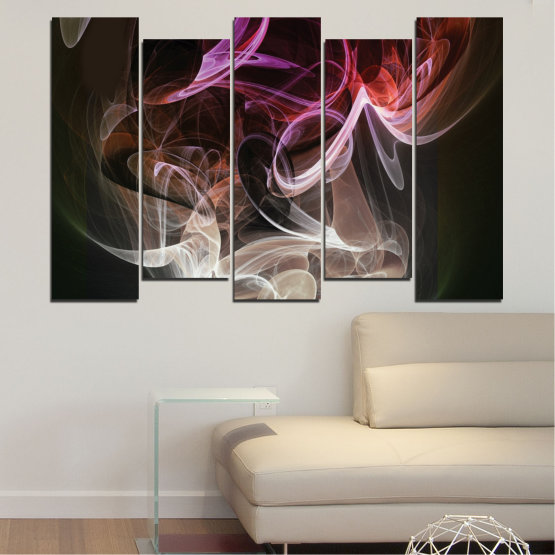 Canvas prints & wall decorative panels - 5 pieces №0333 » Brown, Black, Gray, Dark grey » Abstraction, Colorful, Smoke Form #3
