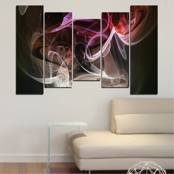 Canvas prints & wall decorative panels - 5 pieces №0333 » Brown, Black, Gray, Dark grey » Abstraction, Colorful, Smoke Form #4