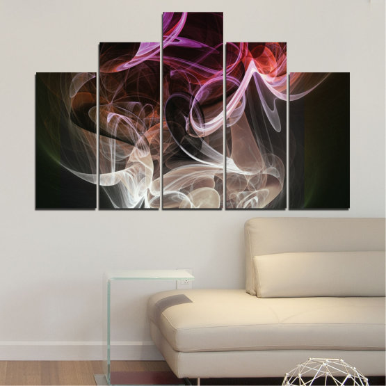 Canvas prints & wall decorative panels - 5 pieces №0333 » Brown, Black, Gray, Dark grey » Abstraction, Colorful, Smoke Form #5