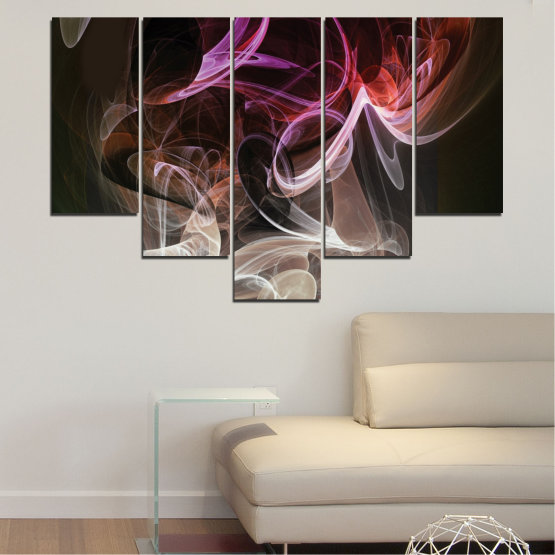 Canvas prints & wall decorative panels - 5 pieces №0333 » Brown, Black, Gray, Dark grey » Abstraction, Colorful, Smoke Form #6