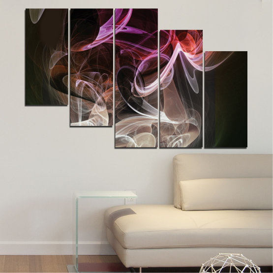 Canvas prints & wall decorative panels - 5 pieces №0333 » Brown, Black, Gray, Dark grey » Abstraction, Colorful, Smoke Form #7