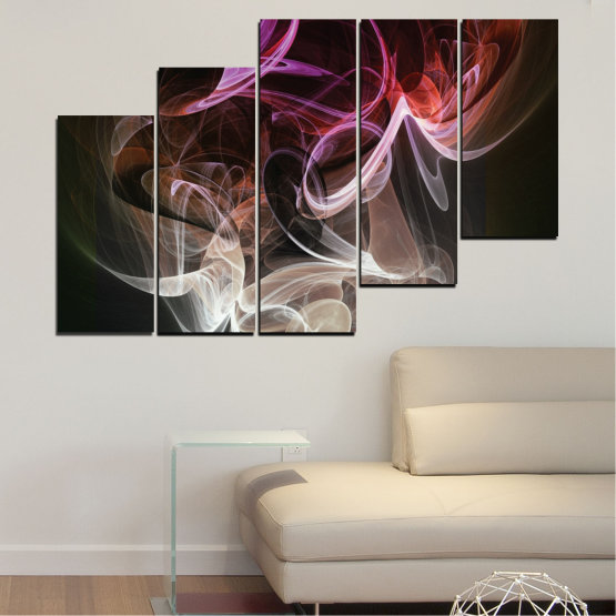 Canvas prints & wall decorative panels - 5 pieces №0333 » Brown, Black, Gray, Dark grey » Abstraction, Colorful, Smoke Form #8