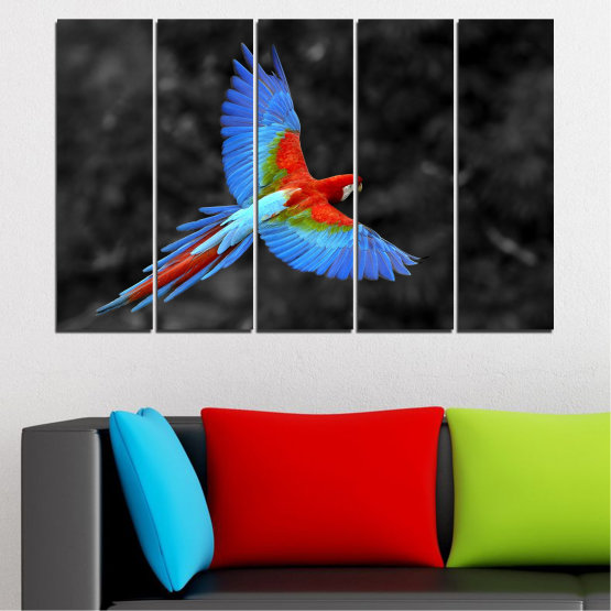 Canvas prints & wall decorative panels - 5 pieces №0334 » Blue, Turquoise, Black, Dark grey » Birds, Wings, Parrot Form #2
