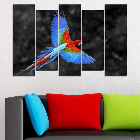 Canvas prints & wall decorative panels - 5 pieces №0334 » Blue, Turquoise, Black, Dark grey » Birds, Wings, Parrot Form #3