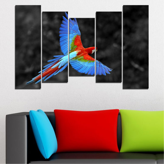 Canvas prints & wall decorative panels - 5 pieces №0334 » Blue, Turquoise, Black, Dark grey » Birds, Wings, Parrot Form #4