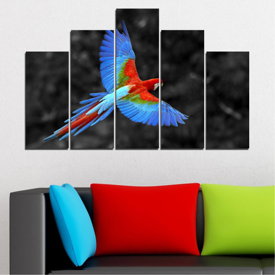 Canvas prints & wall decorative panels - 5 pieces №0334 » Blue, Turquoise, Black, Dark grey » Birds, Wings, Parrot Form #5