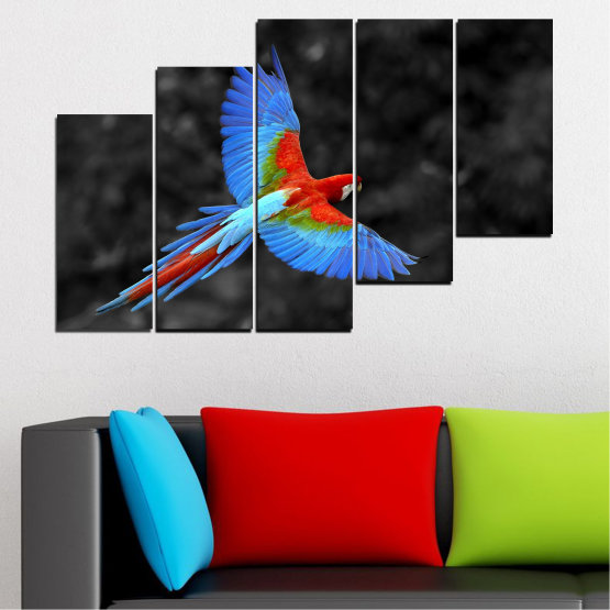 Canvas prints & wall decorative panels - 5 pieces №0334 » Blue, Turquoise, Black, Dark grey » Birds, Wings, Parrot Form #8