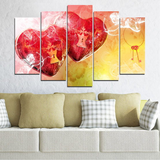 Canvas prints & wall decorative panels - 5 pieces №0335 » Red, Yellow, White, Beige, Milky pink » Heart, Cupid, Key Form #1