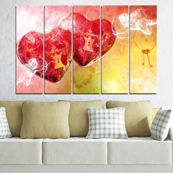 Canvas prints & wall decorative panels - 5 pieces №0335 » Red, Yellow, White, Beige, Milky pink » Heart, Cupid, Key Form #2