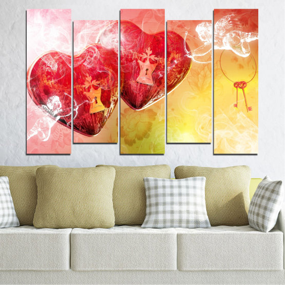 Canvas prints & wall decorative panels - 5 pieces №0335 » Red, Yellow, White, Beige, Milky pink » Heart, Cupid, Key Form #3
