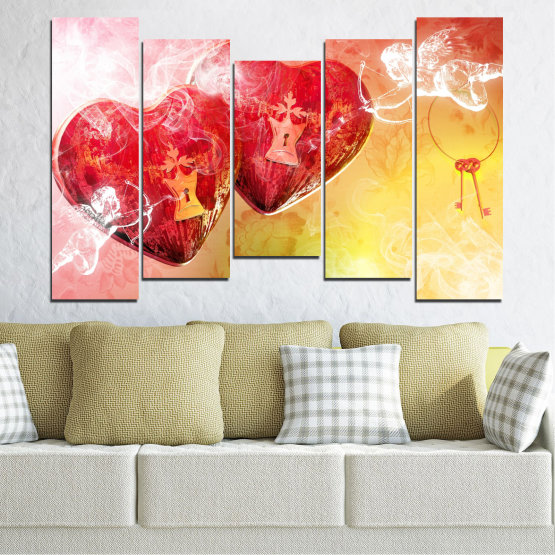 Canvas prints & wall decorative panels - 5 pieces №0335 » Red, Yellow, White, Beige, Milky pink » Heart, Cupid, Key Form #4