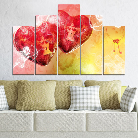 Canvas prints & wall decorative panels - 5 pieces №0335 » Red, Yellow, White, Beige, Milky pink » Heart, Cupid, Key Form #5