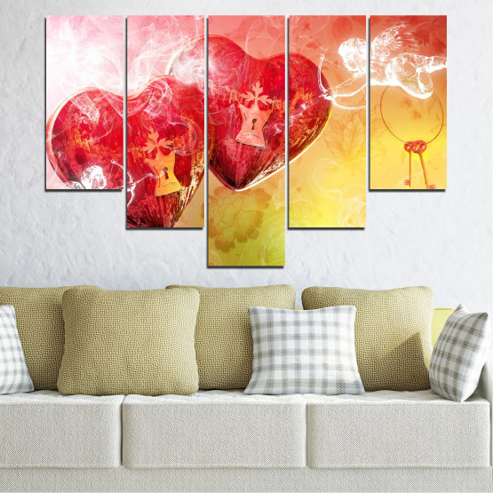 Canvas prints & wall decorative panels - 5 pieces №0335 » Red, Yellow, White, Beige, Milky pink » Heart, Cupid, Key Form #6