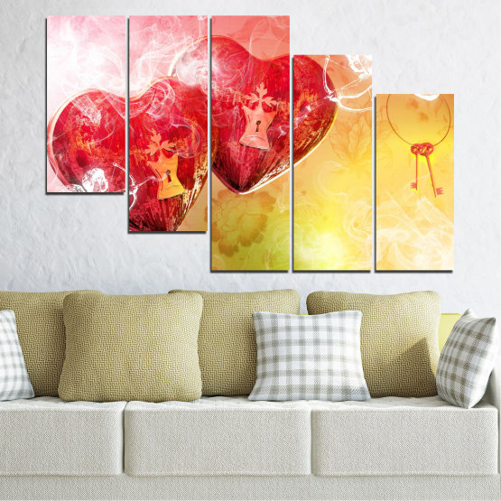 Canvas prints & wall decorative panels - 5 pieces №0335 » Red, Yellow, White, Beige, Milky pink » Heart, Cupid, Key Form #7