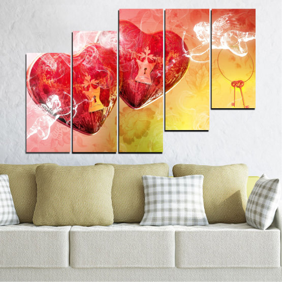 Canvas prints & wall decorative panels - 5 pieces №0335 » Red, Yellow, White, Beige, Milky pink » Heart, Cupid, Key Form #8