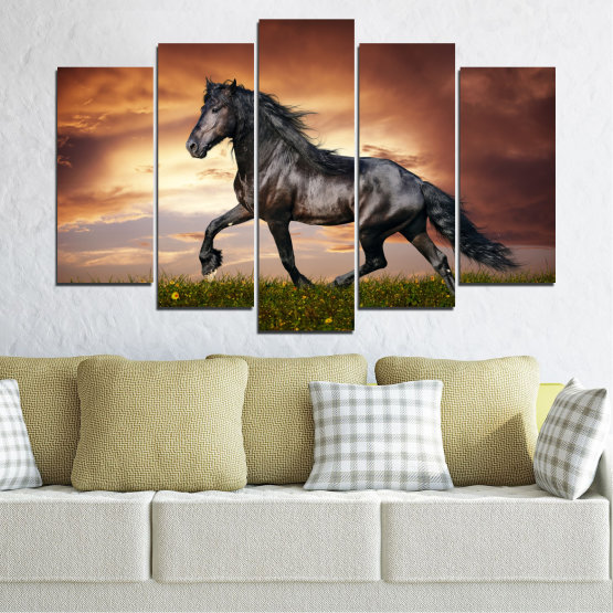 Canvas prints & wall decorative panels - 5 pieces №0336 » Brown, Black, Gray, Dark grey » Animal, Horse, Portrait Form #1