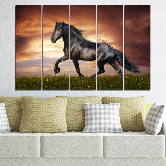 Canvas prints & wall decorative panels - 5 pieces №0336 » Brown, Black, Gray, Dark grey » Animal, Horse, Portrait Form #2