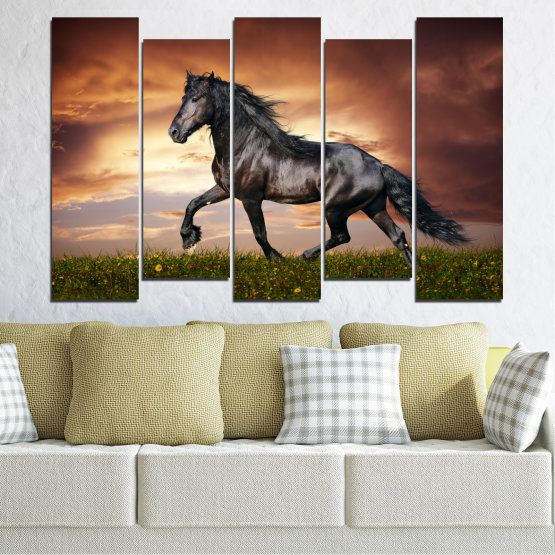 Canvas prints & wall decorative panels - 5 pieces №0336 » Brown, Black, Gray, Dark grey » Animal, Horse, Portrait Form #3