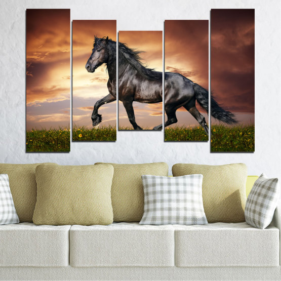 Canvas prints & wall decorative panels - 5 pieces №0336 » Brown, Black, Gray, Dark grey » Animal, Horse, Portrait Form #4