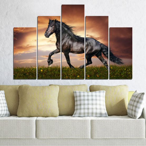 Canvas prints & wall decorative panels - 5 pieces №0336 » Brown, Black, Gray, Dark grey » Animal, Horse, Portrait Form #5