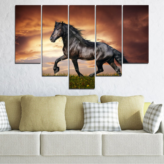 Canvas prints & wall decorative panels - 5 pieces №0336 » Brown, Black, Gray, Dark grey » Animal, Horse, Portrait Form #6