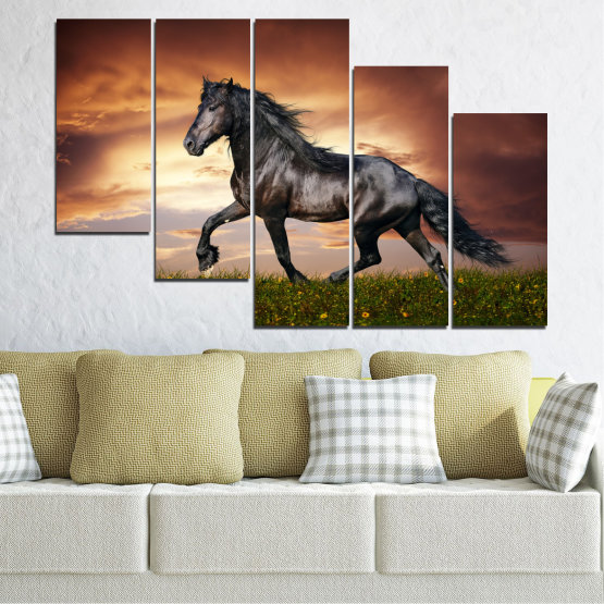 Canvas prints & wall decorative panels - 5 pieces №0336 » Brown, Black, Gray, Dark grey » Animal, Horse, Portrait Form #7
