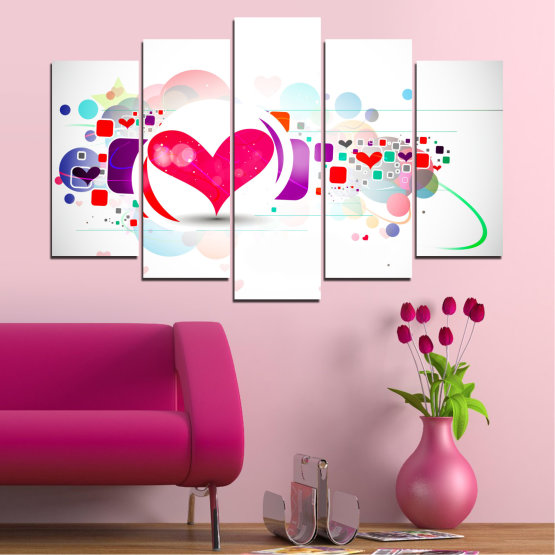 Canvas prints & wall decorative panels - 5 pieces №0337 » Red, Pink, Gray, White, Milky pink » Abstraction, Collage, Heart Form #1