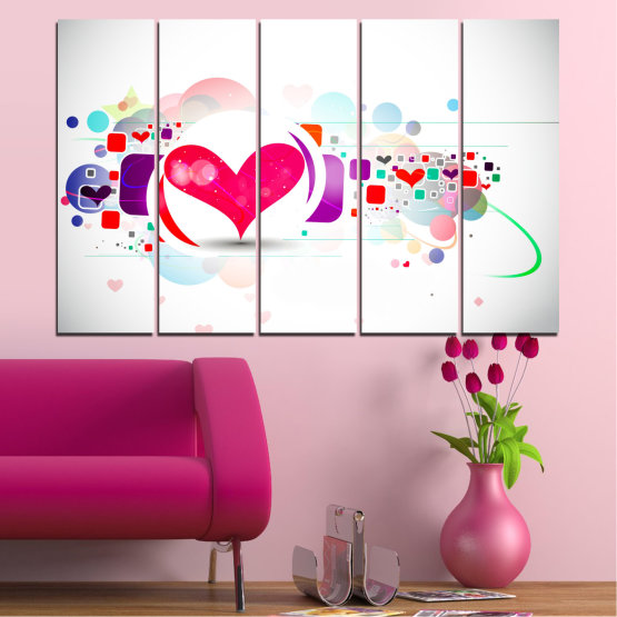 Canvas prints & wall decorative panels - 5 pieces №0337 » Red, Pink, Gray, White, Milky pink » Abstraction, Collage, Heart Form #2