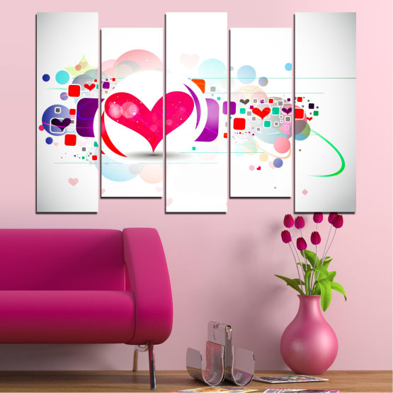 Canvas prints & wall decorative panels - 5 pieces №0337 » Red, Pink, Gray, White, Milky pink » Abstraction, Collage, Heart Form #3