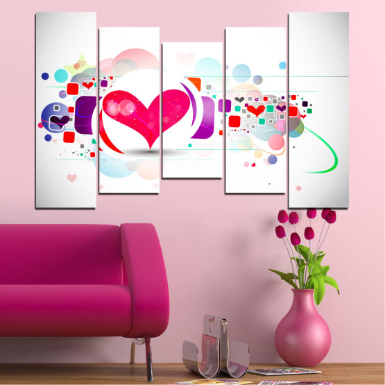 Canvas prints & wall decorative panels - 5 pieces №0337 » Red, Pink, Gray, White, Milky pink » Abstraction, Collage, Heart Form #4