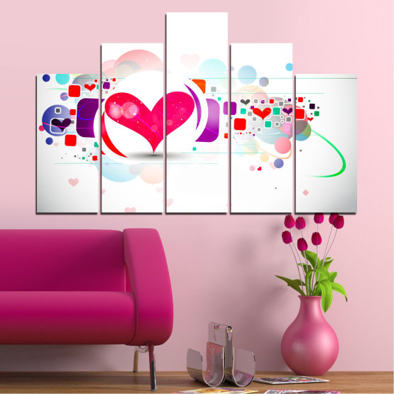 Canvas prints & wall decorative panels - 5 pieces №0337 » Red, Pink, Gray, White, Milky pink » Abstraction, Collage, Heart Form #5