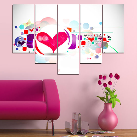 Canvas prints & wall decorative panels - 5 pieces №0337 » Red, Pink, Gray, White, Milky pink » Abstraction, Collage, Heart Form #6