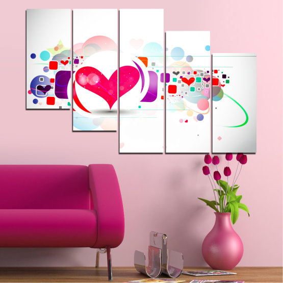 Canvas prints & wall decorative panels - 5 pieces №0337 » Red, Pink, Gray, White, Milky pink » Abstraction, Collage, Heart Form #7