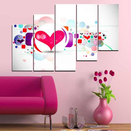 Canvas prints & wall decorative panels - 5 pieces №0337 » Red, Pink, Gray, White, Milky pink » Abstraction, Collage, Heart Form #8