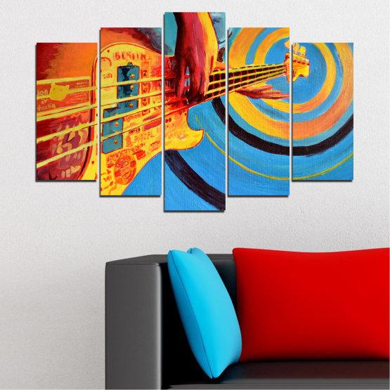 Декоративни панели и картини от канава - от 5 части №0338 » Червен, Син, Тюркоаз, Жълт, Оранжев » Рисунка, Музика, Манга, Сфера Form #1