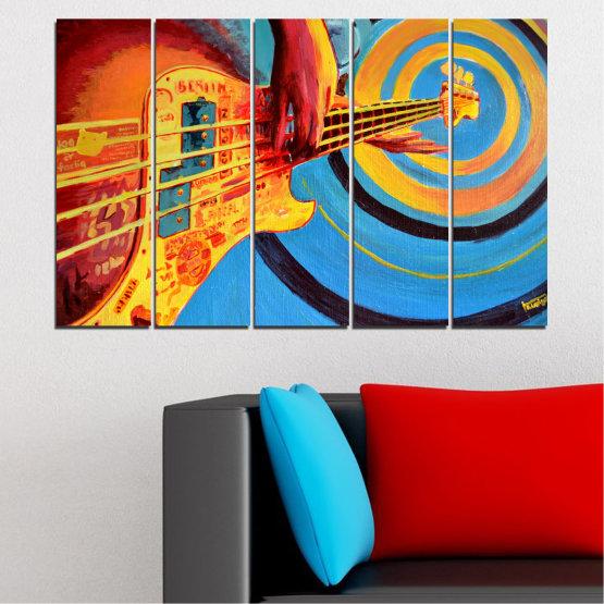 Декоративни панели и картини от канава - от 5 части №0338 » Червен, Син, Тюркоаз, Жълт, Оранжев » Рисунка, Музика, Манга, Сфера Form #2