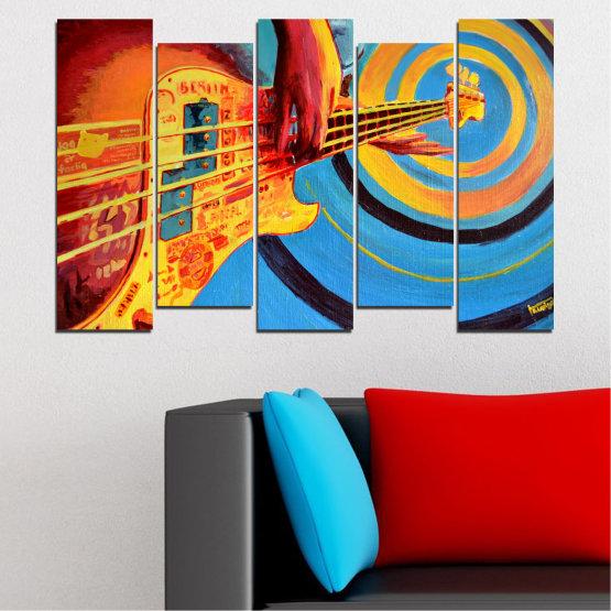 Декоративни панели и картини от канава - от 5 части №0338 » Червен, Син, Тюркоаз, Жълт, Оранжев » Рисунка, Музика, Манга, Сфера Form #3