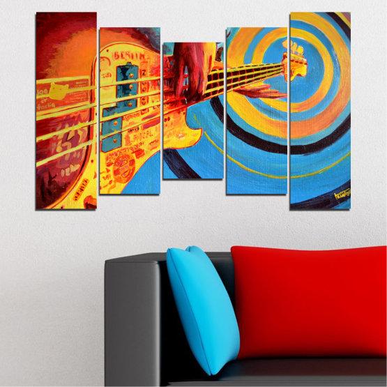Декоративни панели и картини от канава - от 5 части №0338 » Червен, Син, Тюркоаз, Жълт, Оранжев » Рисунка, Музика, Манга, Сфера Form #4