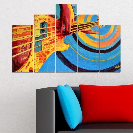 Декоративни панели и картини от канава - от 5 части №0338 » Червен, Син, Тюркоаз, Жълт, Оранжев » Рисунка, Музика, Манга, Сфера Form #5