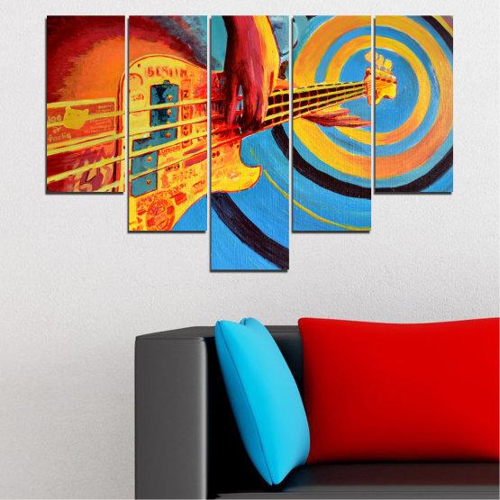 Декоративни панели и картини от канава - от 5 части №0338 » Червен, Син, Тюркоаз, Жълт, Оранжев » Рисунка, Музика, Манга, Сфера Form #6