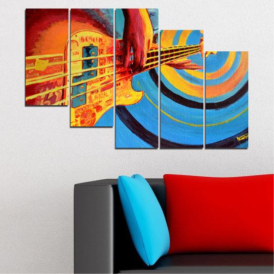 Декоративни панели и картини от канава - от 5 части №0338 » Червен, Син, Тюркоаз, Жълт, Оранжев » Рисунка, Музика, Манга, Сфера Form #7