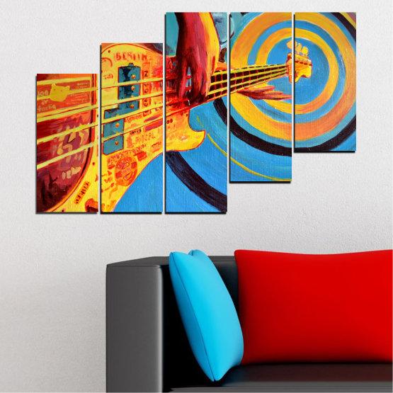 Декоративни панели и картини от канава - от 5 части №0338 » Червен, Син, Тюркоаз, Жълт, Оранжев » Рисунка, Музика, Манга, Сфера Form #8