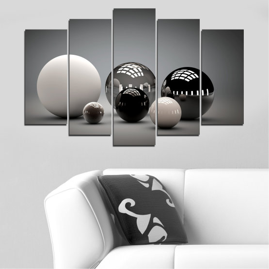 Canvas prints & wall decorative panels - 5 pieces №0339 » Black, Gray, White, Dark grey » Abstraction, Shine, Sphere, Ball Form #1