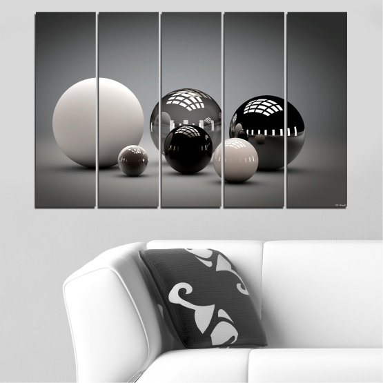 Canvas prints & wall decorative panels - 5 pieces №0339 » Black, Gray, White, Dark grey » Abstraction, Shine, Sphere, Ball Form #2