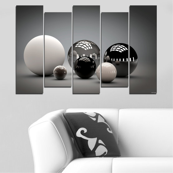 Canvas prints & wall decorative panels - 5 pieces №0339 » Black, Gray, White, Dark grey » Abstraction, Shine, Sphere, Ball Form #3