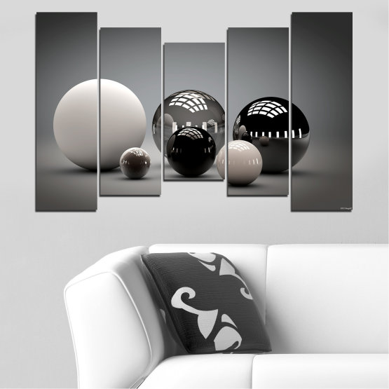 Canvas prints & wall decorative panels - 5 pieces №0339 » Black, Gray, White, Dark grey » Abstraction, Shine, Sphere, Ball Form #4