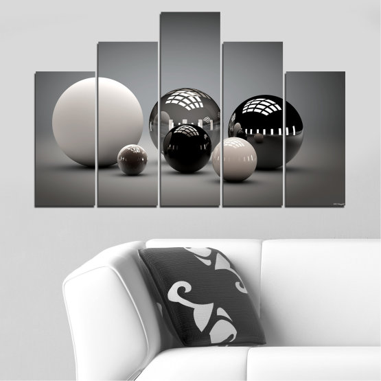Canvas prints & wall decorative panels - 5 pieces №0339 » Black, Gray, White, Dark grey » Abstraction, Shine, Sphere, Ball Form #5