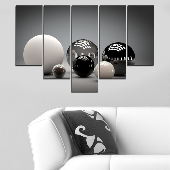 Canvas prints & wall decorative panels - 5 pieces №0339 » Black, Gray, White, Dark grey » Abstraction, Shine, Sphere, Ball Form #6