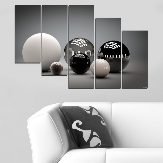 Canvas prints & wall decorative panels - 5 pieces №0339 » Black, Gray, White, Dark grey » Abstraction, Shine, Sphere, Ball Form #7