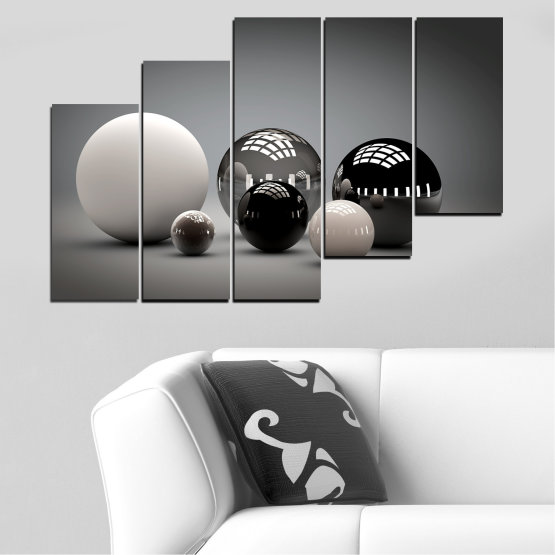 Canvas prints & wall decorative panels - 5 pieces №0339 » Black, Gray, White, Dark grey » Abstraction, Shine, Sphere, Ball Form #8